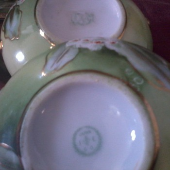 Asian Creamer and Sugar Bowl, IE&amp;C Co., Hand painted, Japan,  2&quot; tall