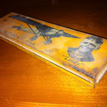 Charles lindebergh, Wallace pencil co.  Metal Pencil box