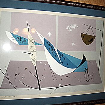 Charles Harper Blue Jay Serigraph - Mid-Century Modern