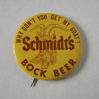 Scmidt's Bock Beer Pin and a Marlboro Cigarettes Matchbox - Breweriana