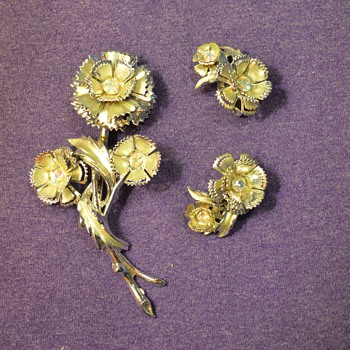 Flower Pin and Earrings from my Great-Grandma - Costume Jewelry