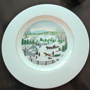 Limited First Edition Grandma Moses &#039;Out for the Christmas Tree&#039; Plate, c. 1950 - China and Dinnerware