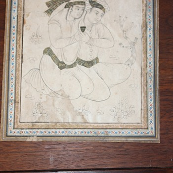 Hindu (?) Drawing on very old parchment - Asian