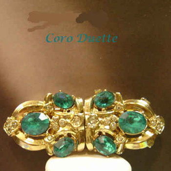 Awesome Aqua Rhinestones 1940's Coro Duette All signed  - Costume Jewelry