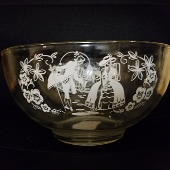 Glass Bowl with Dancing Man and Woman  - Glassware