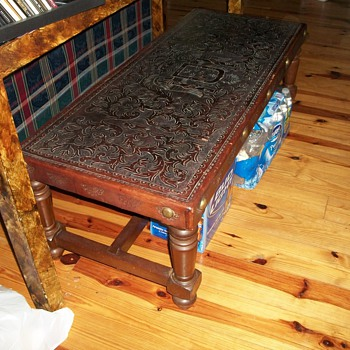 Carved Leather TopTable - Furniture