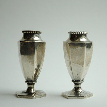 pair of miniature sterling silver vases