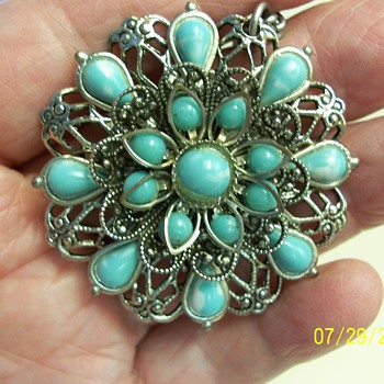 Mexican Silver, Turquoise ? - Costume Jewelry