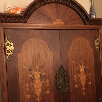 Antique Armoire with inlaid desk and cabinets with key