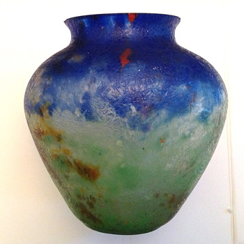 Czech : Chipped Ice / Glue Chip Blue and Green Oval Vase - Art Glass