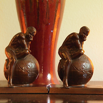 1925 - 30, Man/Atlas Sitting on Top of the World Bookends - Books