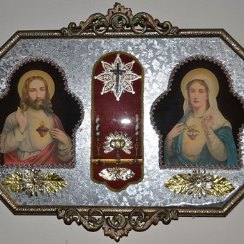Religious art etched metal framed candle Mystery Art? Framed - Folk Art