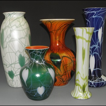 "Imperial Lead Lustre Vases with ""Leaf & Vine"" Decors - Imperial Glass Company, Bellaire, Ohio, 1925-26 - Art Glass"