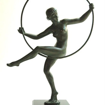 "my favorite art deco piece, a nice spelter figure ""HOOP DANCER""  by BRIAND a nick of MARCEL BOURAINE - Art Deco"