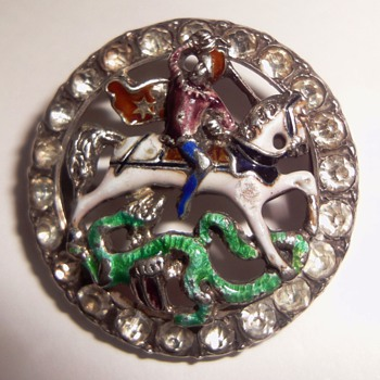 Austro Hungarian Austrian Silver Enamel St. George and the Dragon Brooch. - Fine Jewelry