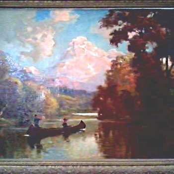 "Hudson River School Style Landscape/ Oil on Canvas 33 "" x 27 "" Framed /Unsigned Circa 19th-20th Century"