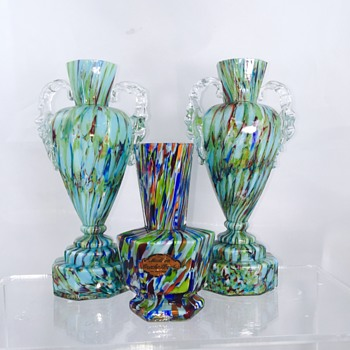 Welz Hexagon Blue Green Spatter Cased Vase