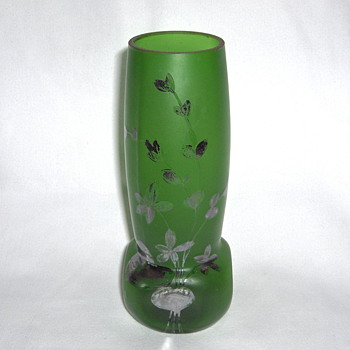 Art Nouveau Goldberg Green Satin Silver Flowers Vase #2 - Art Glass