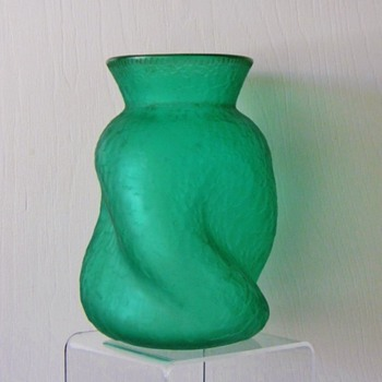 Legras Mont Joye Acid Carved Emerald Green Iridescent Vase - Art Glass