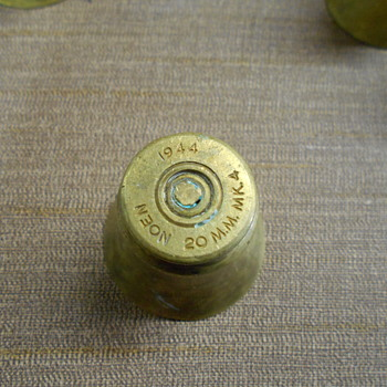 WWII Oerlikon casing trench art shot glasses