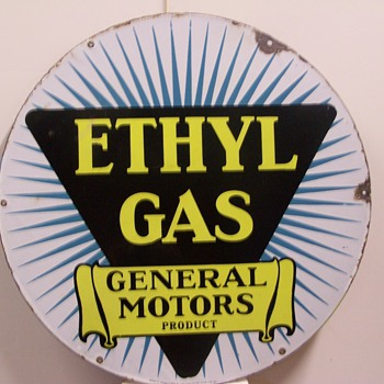 20&quot; Ethyl Gas General Motors  &amp; 30&quot; Red Crown Porcelain signs