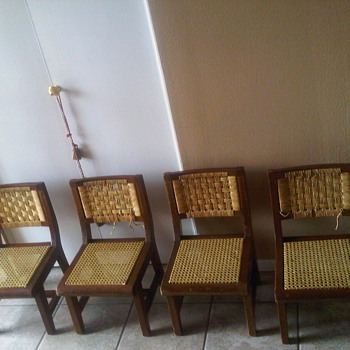 Set of 4 Children's Cane and Rush Chairs  - Furniture