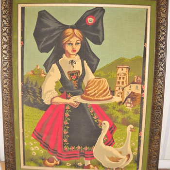 Vintage Girl & Ducks Framed Linen - Rugs and Textiles