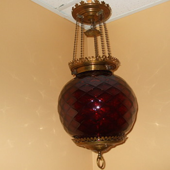 Larger than Most RUBY HONEYCOMB Hall Oil Lamp - Lamps