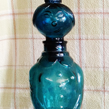 Vintage Teal Glass Lady Decanter  - Bottles