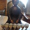 Kutani sake cups of 7 Lucky Gods and bronze Geisha