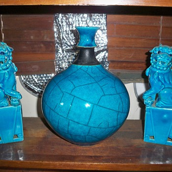 Turquoise modern vase - Art Pottery