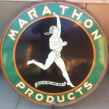 1930&#039;s 48&quot; Marathon Sign in original ring. One of  the favorite signs in my collection! - Petroliana