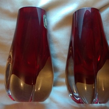 Whitefriars ruby red vases