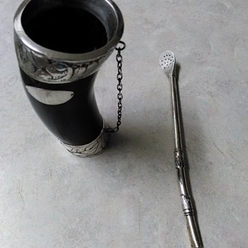 HORN CUP AND STRAW - Silver
