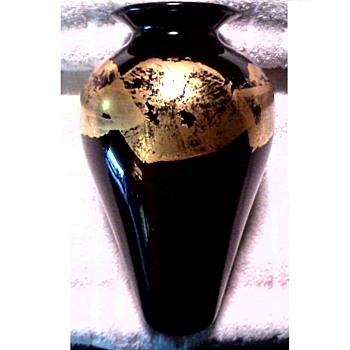 "Black Amethyst Glass 10"" Vase With Fused Gold Leaf Design / Marked  / Circa 20th Century - Art Glass"