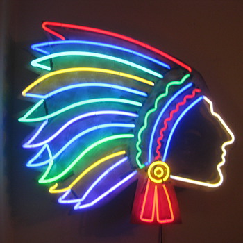 Vintage 1940'S NEON INDIAN sign - Signs