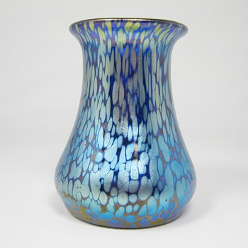 Loetz Cobalt Papillon Art Glass Vase Series III production ca. 1920