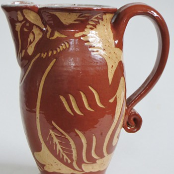 Pottery Pitcher w/Carved/Scratched Designs~Bird?, Horse?, Duck?~Signature Unrecognized, HELP!:)