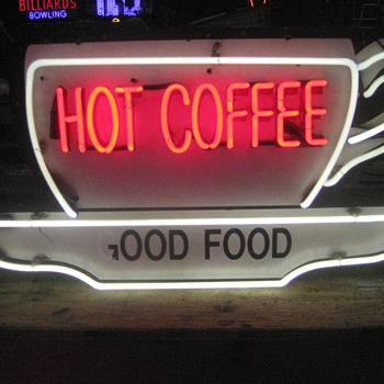 Vintage / Neon HOT COFFEE  sign  - Signs