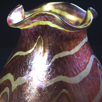 Fritz Heckert Silberband Iridescent Vase  - Art Glass