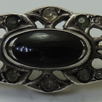 Brooch for WOMEN- Sterling &amp; Onyx - Marked GERMANY - Fine Jewelry