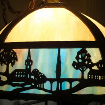 Blue/cream slag lampshade with church and bridge - Lamps
