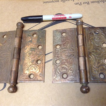 Vintage brass door hinges