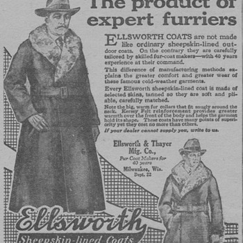 1919 - Ellsworth & Thayer Coats Advertisement - Advertising