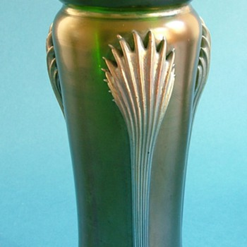 Two Art Nouveau Iridescent Vases with Applied Trail