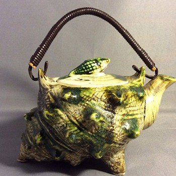 Antique majolica shell teapot