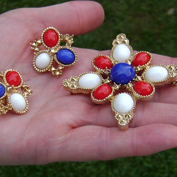 Sarah Coventry Brooch and Earrings - Americana