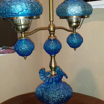 Fenton Glass Blue Daisy Pattern - Lamps