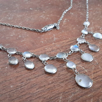 Art deco marcasite peridot earring redo & antique  moonstone necklace - Art Deco