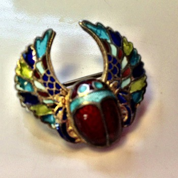 Egyptian revival plique a jour pin - Fine Jewelry